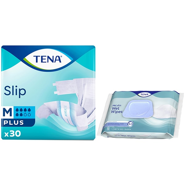 Pachet promo TENA: Scutece pentru adulti Slip Plus, M, 30buc + Servetele pentru igiena intima Wet Wipe, 48buc