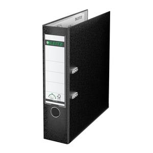 Biblioraft plastifiat/cartonat LEITZ, A4, 80 mm, deschidere 180, negru