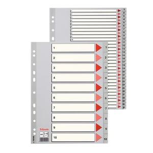 Separator ESSELTE, 225 x 297 mm, plastic, 11 perforatii; format A4, gri