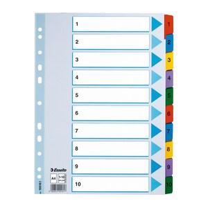 Separator ESSELTE 1-10, 225 x 297 mm, index laminat, 11 perforatii; format A4, alb