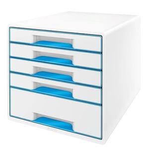 Suport documente LEITZ WOW, 5 sertare, plastic, alb-albastru