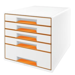 Suport documente LEITZ WOW, 5 sertare, plastic, alb-portocaliu