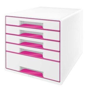 Suport documente LEITZ WOW, 5 sertare, plastic, alb-roz