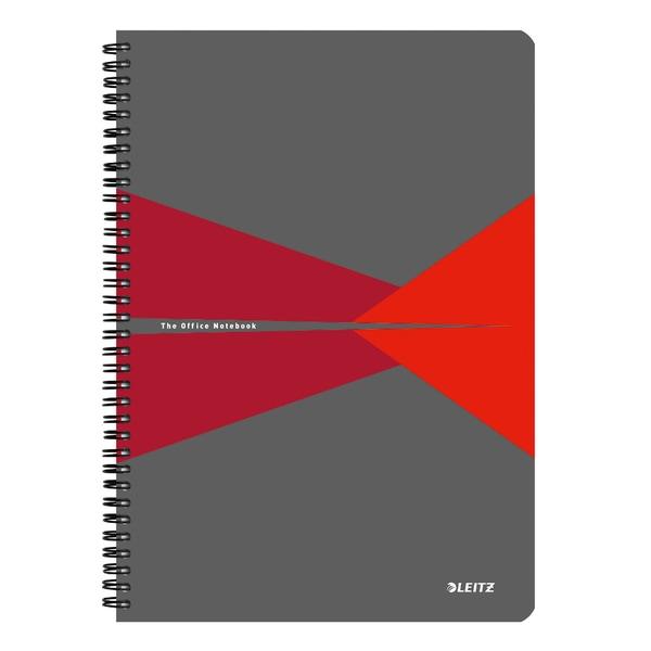 Caiet de birou LEITZ, matematica, A4, 90 file, legatura spirala, rosu
