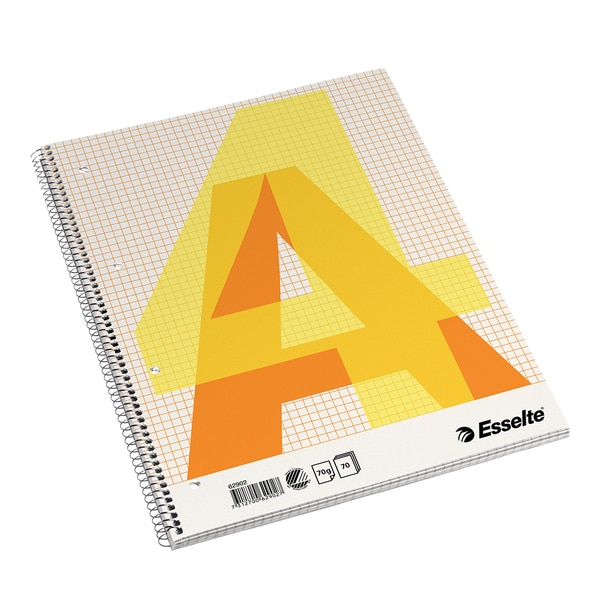 Caiet de birou ESSELTE, matematica, A4, 70 file, legatura spirala, portocaliu