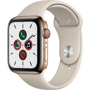 APPLE Watch Series 5 GPS + Cellular, 44mm Gold Stainless Steel Case, Stone Sport Band