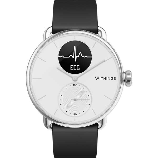 Smartwatch WITHINGS ScanWatch, 38mm, Android/iOS, silicon/otel, alb-negru