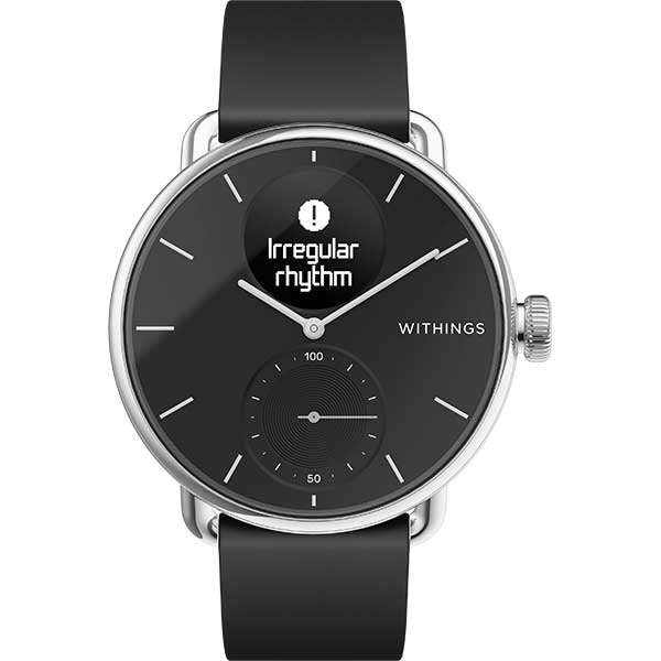 Smartwatch WITHINGS ScanWatch, 38mm, Android/iOS, silicon/otel, negru