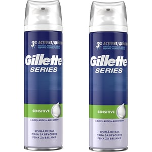 Pachet Spuma de ras GILLETTE Series Sensitive, 250ml, 2buc