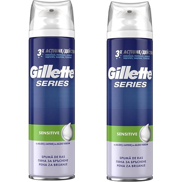 Pachet Spuma de ras GILLETTE Series Sensitive, 250ml, 2buc