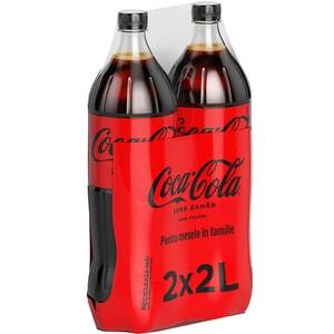 Bautura racoritoare carbogazoasa COCA-COLA Zero Zahar bax 2L x 2 sticle