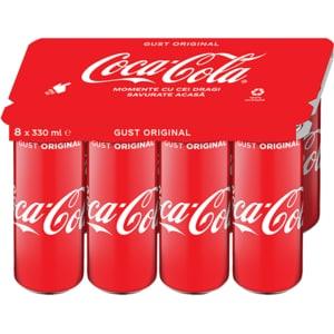 Bautura racortitoare carbogazoasa COCA-COLA Original Taste bax 0.33L x 8 cutii