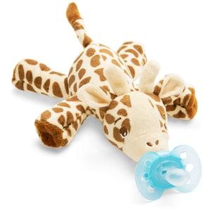 Suzeta ortodontica cu jucarie de plus Girafa PHILIPS AVENT Ultra Soft SCF348/11, 0-6 luni, bleu-maro