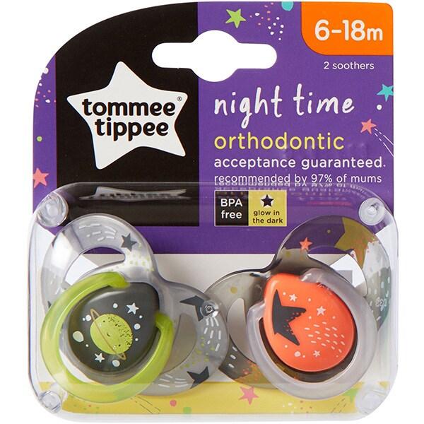 Suzeta ortodontica de noapte TOMMEE TIPPEE ONL Planete TT0232, 6-18 luni, 2 buc