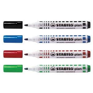 Marker pentru tabla STABILO Plan 64, 2.5-3.5mm, 4 bucati (negru, rosu, albastru, verde)