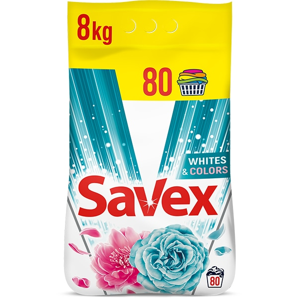 Detergent automat SAVEX Parfum White & Colors, 8 kg, 80 spalari