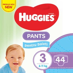Scutece chilotei HUGGIES Jumbo pack nr 3, Baiat, 6-11 kg, 44 buc