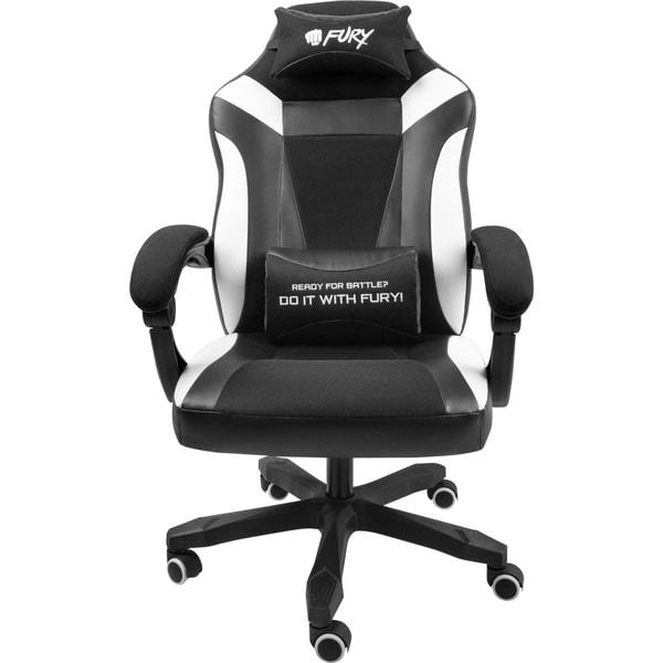 Scaun gaming Fury Avenger M+, negru-alb