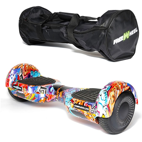 Hoverboard FREEWHEEL Complete Lite, 6.5 inch, viteza 12 km/h, motor 2 x 200W, graffiti albastru + geanta transport cadou