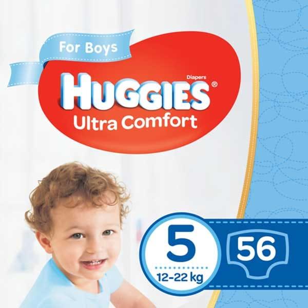 Scutece HUGGIES Ultra Comfort nr 5, Baiat, 12-22 kg, 56 buc