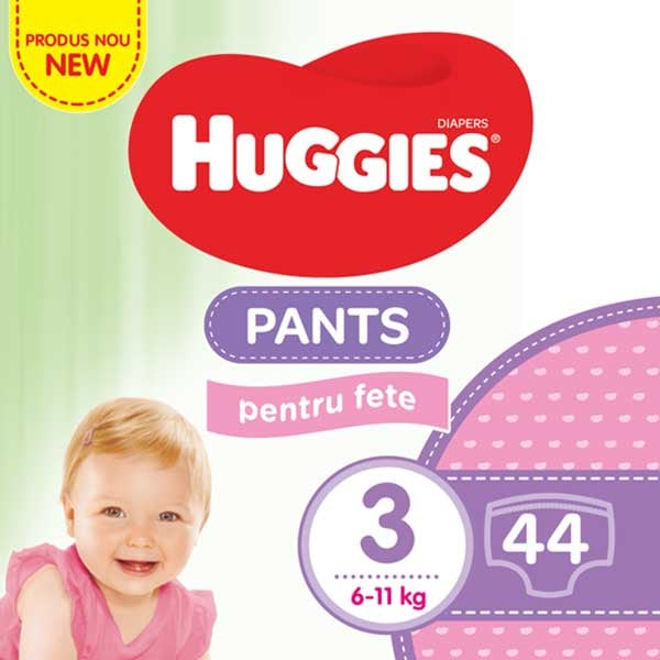 Scutece chilotei HUGGIES Jumbo pack nr 3, Fata, 6-11 kg, 44 buc