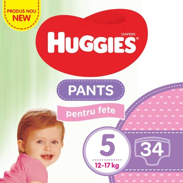 Scutece chilotei HUGGIES Jumbo pack nr 5, Fata, 12-17 kg, 34 buc