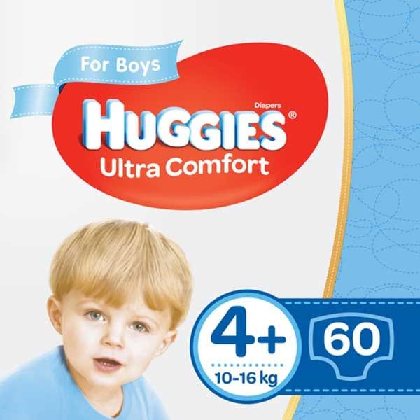 Scutece HUGGIES Ultra Comfort nr 4+, Baiat, 10-16 kg, 60 buc