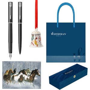 Set stilou, pix, felicitare, clopotel si punga cadou WATERMAN Allure, albastru-negru