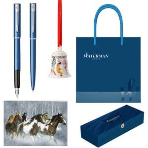 Set stilou, pix, felicitare, clopotel si punga cadou WATERMAN Allure, albastru