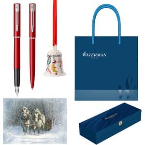 Set stilou, pix, felicitare, clopotel si punga cadou WATERMAN Allure, rosu-albastru