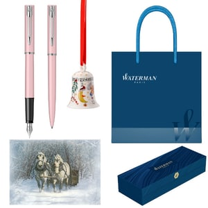 Set stilou, pix, felicitare, clopotel si punga cadou WATERMAN Allure, roz pastel