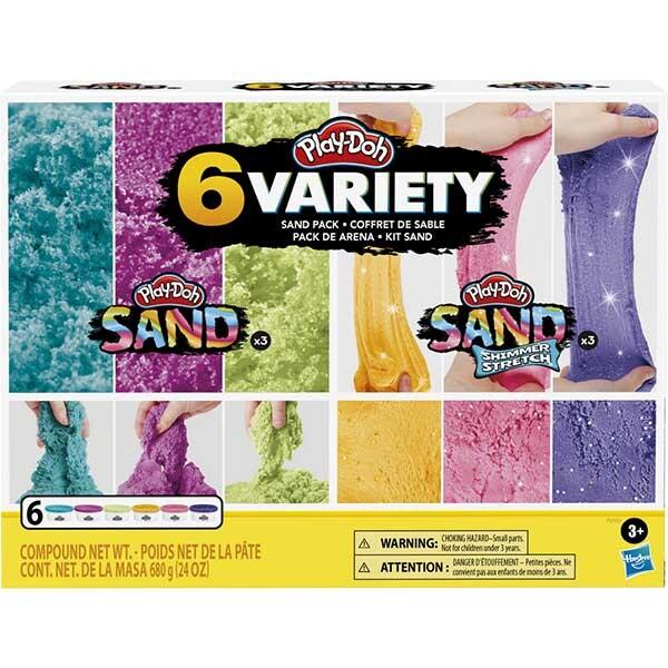Set PLAY DOH 6 cutii cu nisip colorat si cu diferite texturi F0103, 3 ani+, multicolor