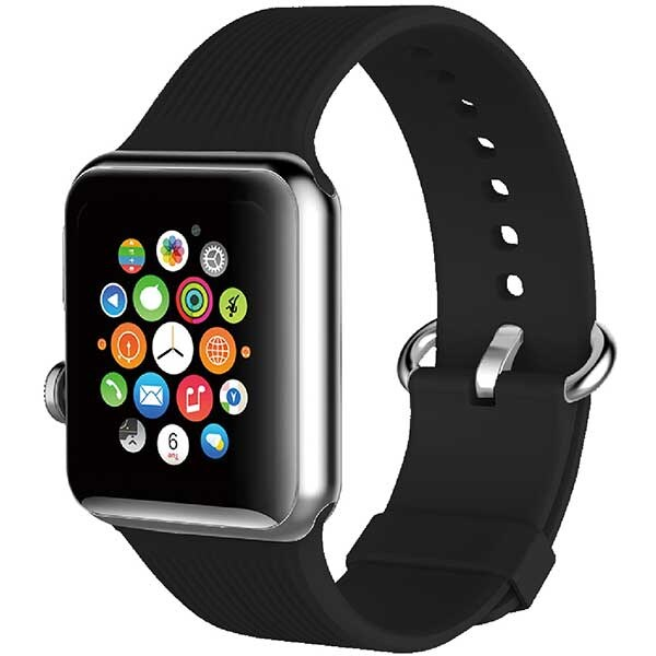Bratara pentru Apple Watch 38mm, PROMATE Silica-38, silicon, negru