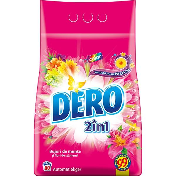Detergent automat DERO 2 in 1 Bujor de Munte si Stanjenel, 6kg, 60 spalari
