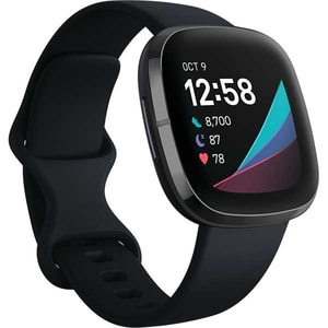 Smartwatch FITBIT Sense, Android/iOS, silicon, Carbon/Graphite Stainless Steel