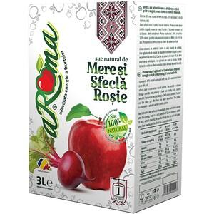 Suc natural AROMA, natural 100%, Mere si Sfecla rosie, 3L
