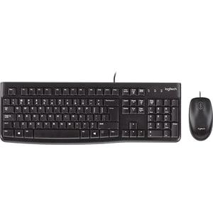 Kit tastatura si mouse cu fir LOGITECH MK120, USB, Layout US INT, negru