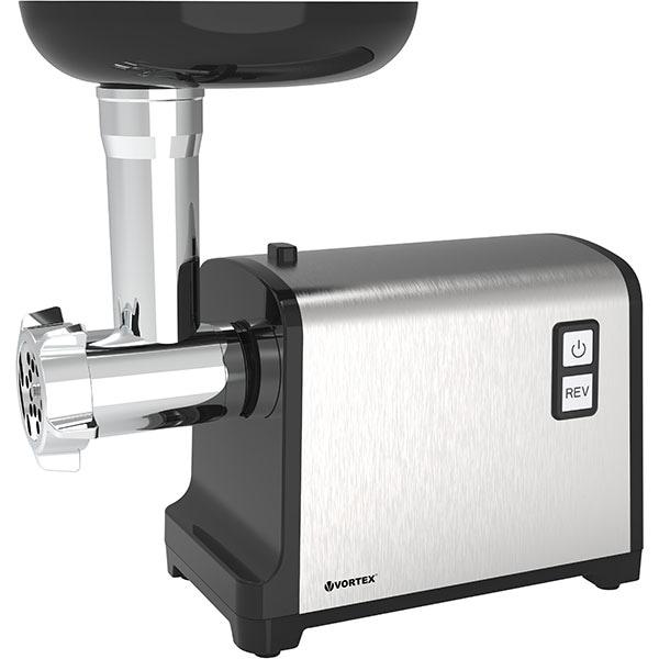 Masina de tocat carne VORTEX VO4023, 1.2kg/min, 2100W, accesoriu carnati/suc rosii, argintiu-negru