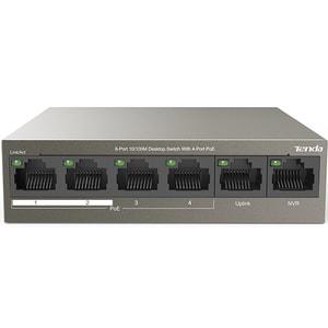 Switch TENDA TEF1106P-4-63W, 6 porturi Fast Ethernet, 4 x PoE, 2 x Uplink, argintiu
