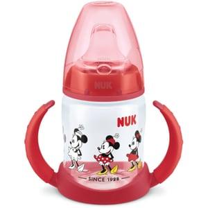 Biberon NUK First Choice Mickey Mouse 10215268, flux lent, 6-18 luni, 150ml, rosu-transparent