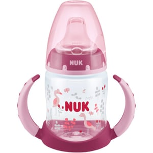 Biberon NUK First Choice 10215277, flux lent, 6 luni+, 150ml, roz-transparent