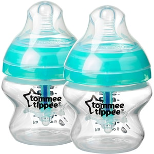 Set biberoane cu sistem de ventilatie TOMMEE TIPPEE Advanced: 2 x biberoane 150 ml, flux lent, 0 luni +, bleu - transparent
