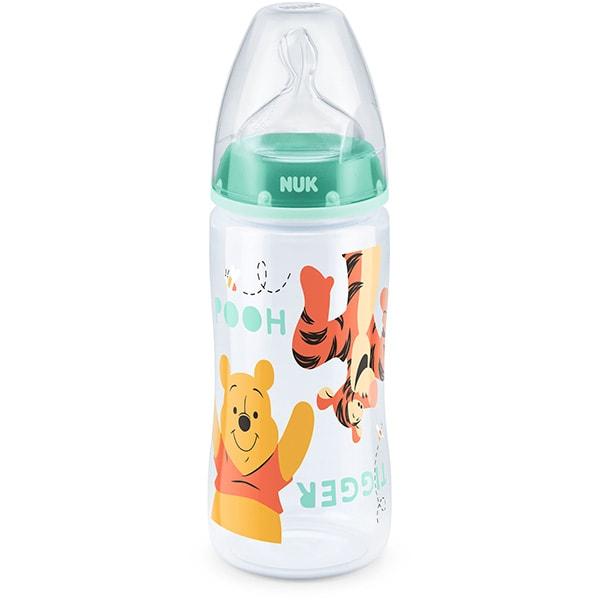 Biberon NUK Disney Winnie 10216199, flux lent, 0-6 luni, 300ml, verde-transparent