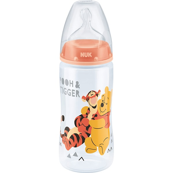 Biberon NUK Disney Winnie 10216200, flux lent, 0-6 luni, 300ml, portocaliu-transparent