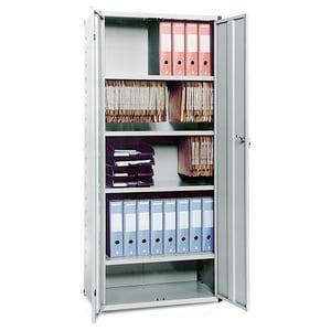 Dulap birou INGECO, 80 x 44 x 183 cm, Metal, 2 usi, 4 polite, gri
