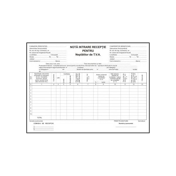 Nota de intrare-receptie VOLUM, 100 file x 3 carnete