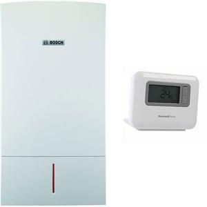 Pachet centrala termica pe gaz in condensare BOSCH Condens 7000 W ZWBR35-3E23, 35 kW, Kit de evacuare inclus, alb + Cronotermostat wireless Honeywell T3R