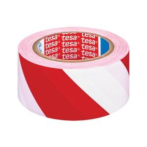 Banda adeziva de marcare TESA, 50 mm x 33 m, alb-rosu