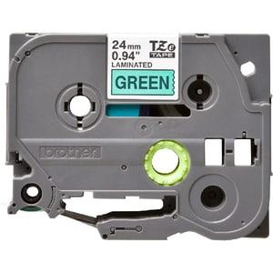 Banda etichete BROTHER TZe-751, 24 mm, 8 m, Negru pe Verde