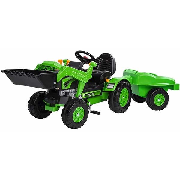 Tractor cu pedale si remorca BIG Jim Loader 800056516, 2 ani+, verde-negru
